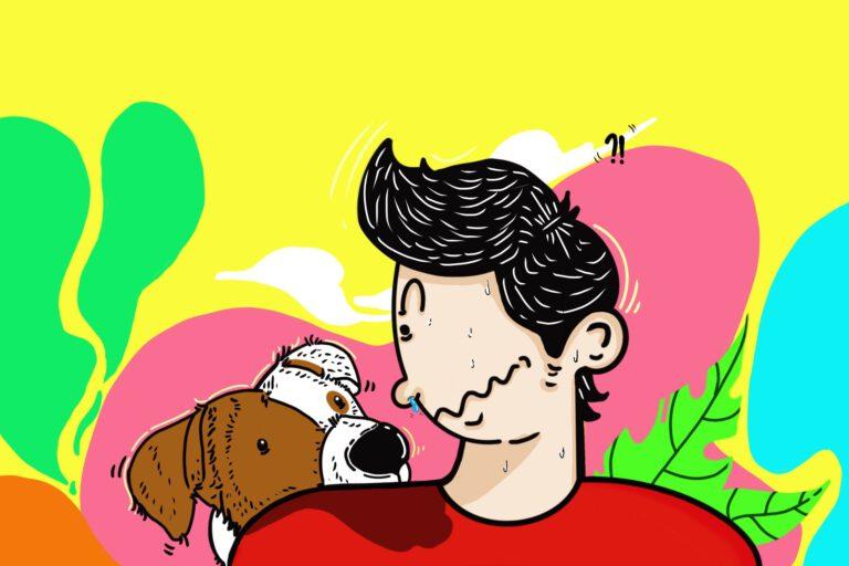 man heeft een allergie voor hondenhaar